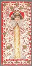 Vintage Valentine Card with Girl as Stick of Candy To My Swetheart