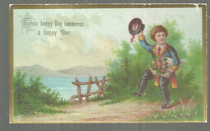 Victorian Card for This Happy Day Commence a Happy Year with Dancing Little Boy