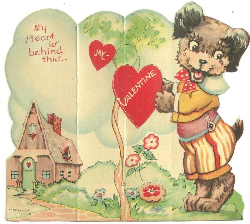 Vintage Fold Out Valentine with Dog My Heart is Behind This, My Valentine