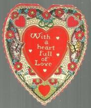 Vintage Heart Shaped Valentine Card with Butterflies A Heart Full of Love