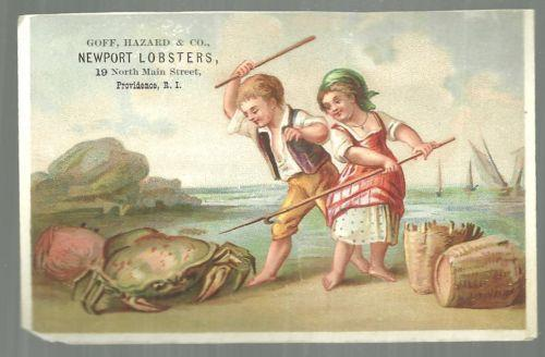 Victorian Trade Card for Goff Hazard Newport Lobster Providence, RI Girl and Boy
