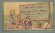 Victorian Trade Card for Alexander Frazer Fine Boots with School Children