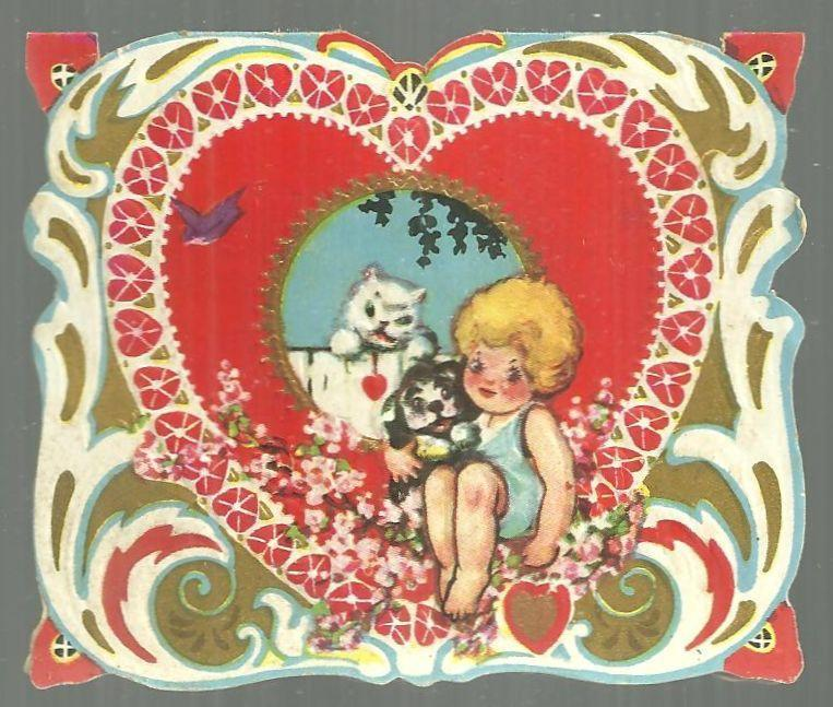 Vintage Valentine Card with Girl and Her Kitty and Pup I Simply Must Have You