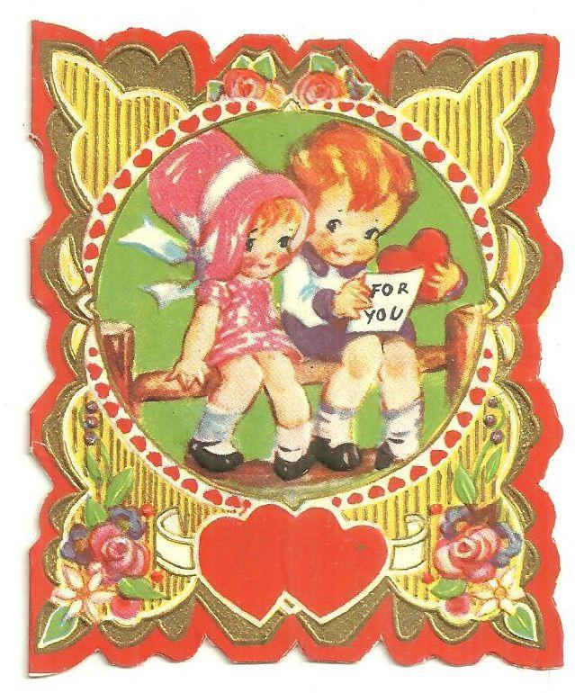 Vintage Valentine Card with Girl and Boy Sitting on Fence