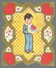 Vintage Valentine Card with Boy with Bouquet of Flowers Sample of Love