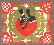 Vintage Valentine Card with Boy and Girl Silhouette To My Valentine