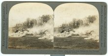 Armored Tank Making its Way Through Smoke Stereoview