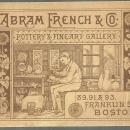 Victorian Trade Card for Abram French & Co., Pottery and Fine Art Gallery Boston