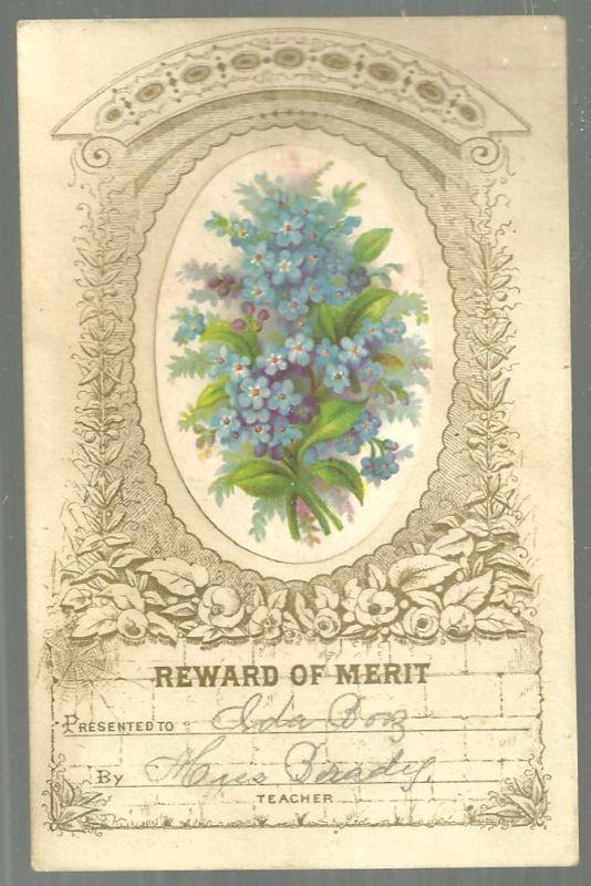 Victorian Reward of Merit with Bouquet of Blue Flowers