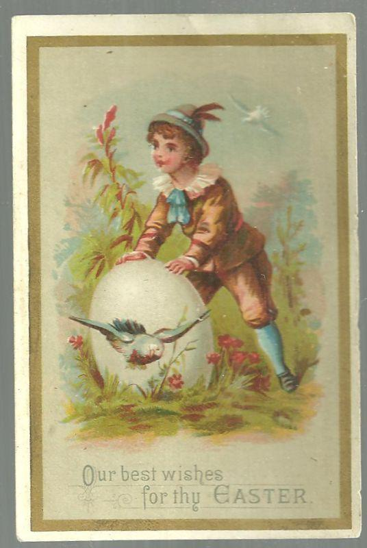 Victorian Trade Card For Ed. Gagne Artist, Boston Our Best Wishes for Thy Easter