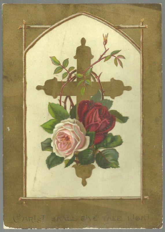 Victorian Easter Card with Gold Cross with Roses and Easter Poem