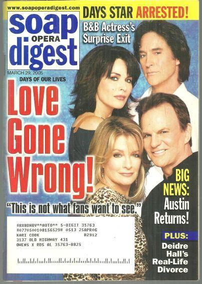 Soap Opera Digest March 29, 2005 Love Gone Wrong on Days of Our Lives on Cover