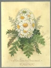Victorian Easter Card Daisies in Shape of Egg May Love and Peace Reign at Easter