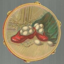 Victorian Tambourine Die Cut Card Shoes Filled with Eggs