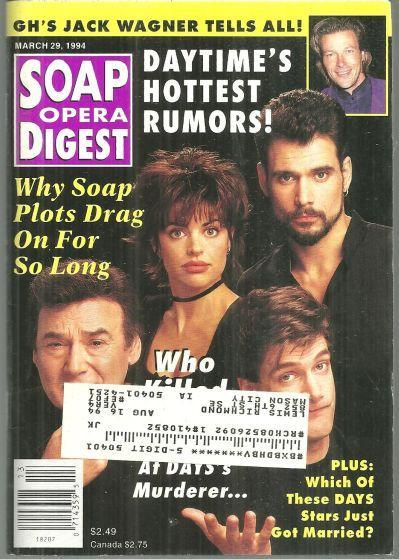 Soap Opera Digest March 29, 1994 Who Killed Curtis Reed on Days on Cover