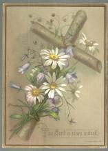 Victorian Prayer Card with Cross and Daisies The Lord is Risen Indeed St. Luke