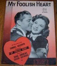 My Foolish Heart Starring Dana Andrews and Susan Hayward 1949 Sheet Music
