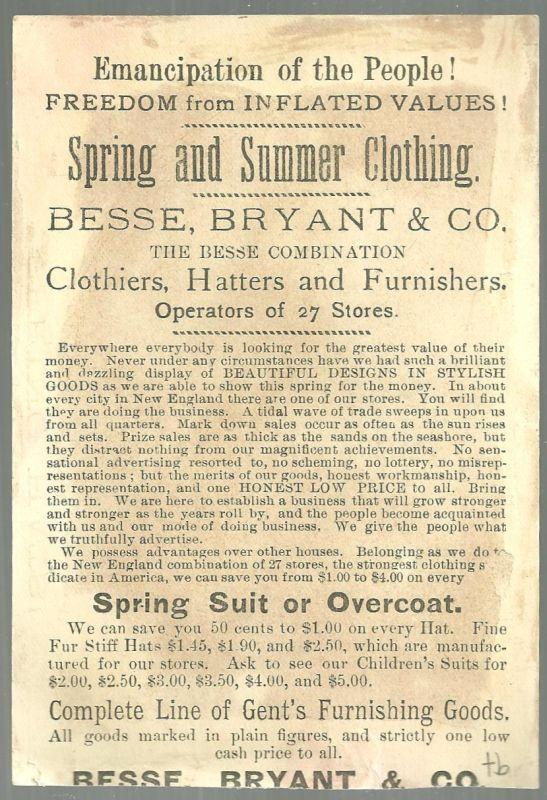Victorian Trade Card for Besse, Bryant & Co. Spring and Summer Clothing Bluejay