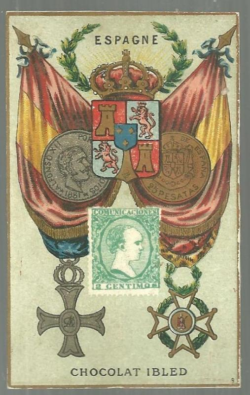 Victorian Trade Card for Chocolat Ibled with Stamp, Crest and Flag for Espagne