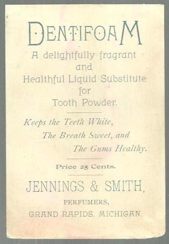 Victorian Trade Card for Jennings' White Rose Cologne and Dentifoam Grand Rapids