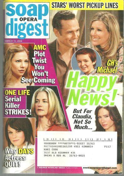 Soap Opera Digest Magazine March 10, 2009 Happy News On GH on the Cover