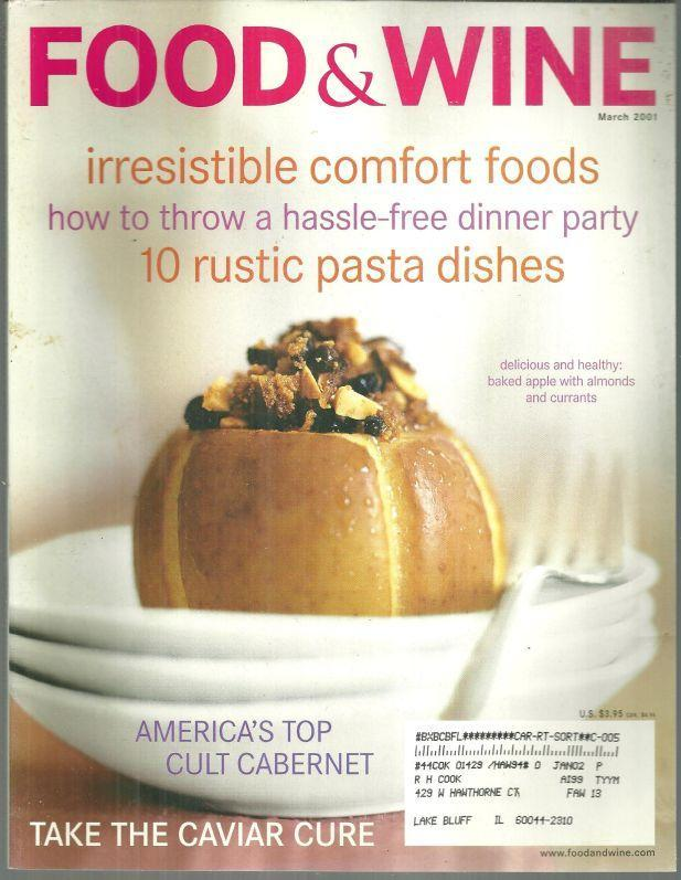 Food and Wine Magazine March 2001 Crispy Recipes/Jean-Georges in Paradise/Pasta