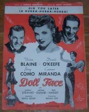 Dig You Later (a Hubba-Hubba-Hubba) From  Doll Face 1945 Sheet Music