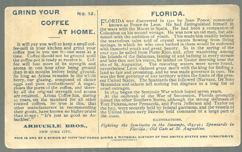 Victorian Trade Card for Arbuckle Bros. Coffee State of Florida