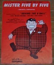 Mister Five by Five Behind the 8 Ball With The Ritz Brothers 1942 Sheet Music