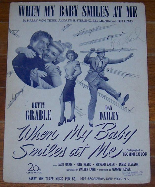 When My Baby Smiles at Me Starring Betty Grable  and Dan Dailey 1948 Sheet Music