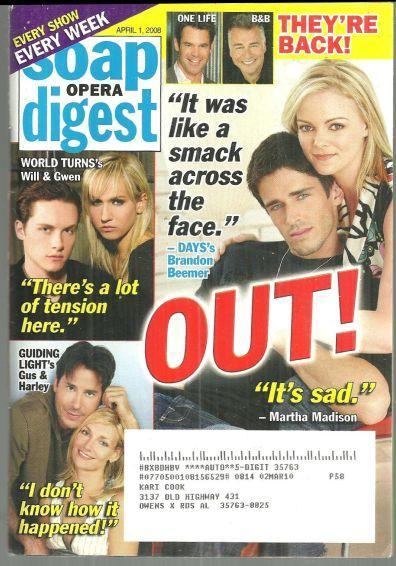 Soap Opera Digest Magazine April 1, 2008 Shawn and Belle Say Goodbye