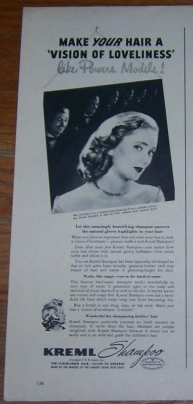 1947 Kreml Shampoo Life Magazine Advertisement with Miss Carolyn Cross Model