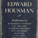 Alfred Edward Housman Recollections by Katherine Symons 1937 1st edition w/DJ