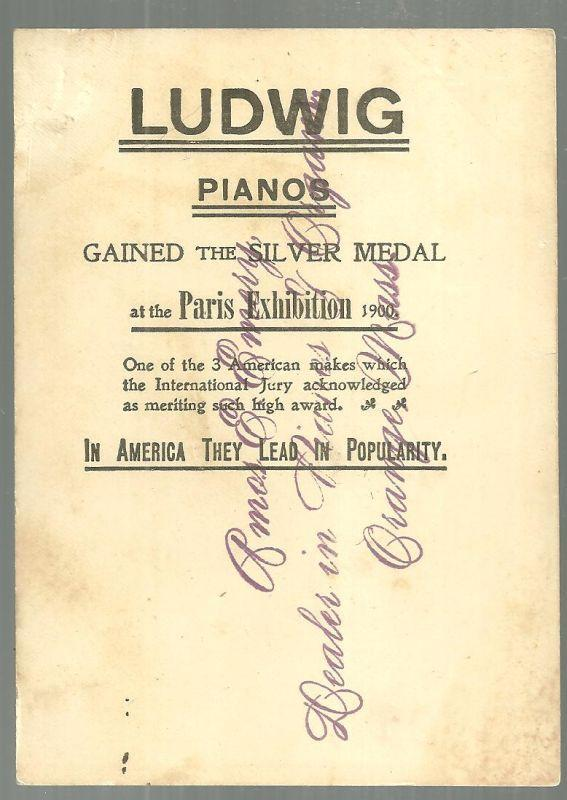 Victorian Trade Card for Ludwig Pianos with Courtly Gentleman Bowing on Front