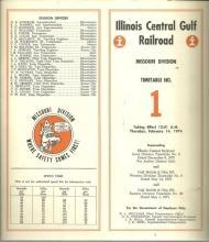 Illinois Central Gulf Railroad Missouri Division Timetable No. 1 February 1974