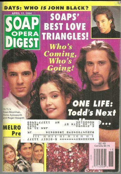 Soap Opera Digest Magazine April 12, 1994 One Life to Live on the Cover