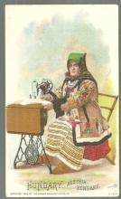 Victorian Trade Card for Singer Sewing Machine with Hungarian Woman Sewing
