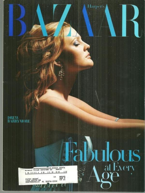 Harper's Bazaar Magazine April 2004 Drew Barrymore On Cover/Lauren Bacall