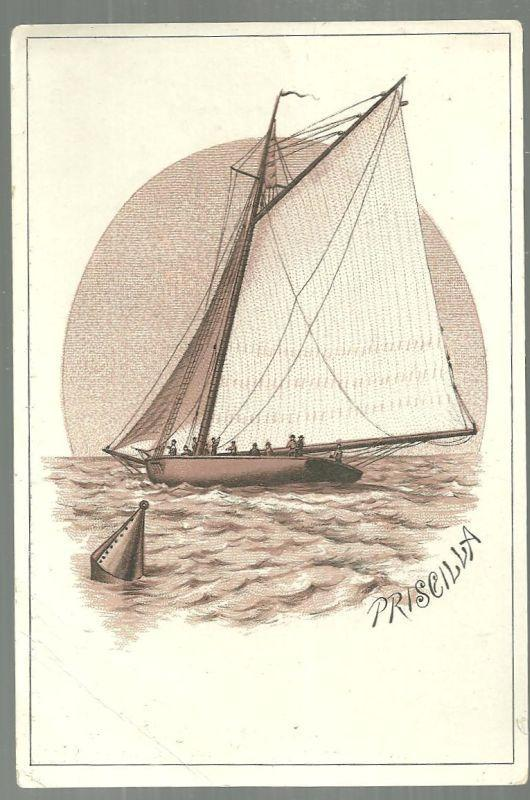 Victorian Trade Card for The Bay State Clothing Company With Sailboat
