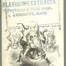 Victorian Trade Card for J. O. George Flavoring Extracts with Elves Riding Frogs