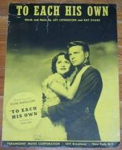 To Each His Own Starring Olivia DeHavilland and Introducing John Lund 1946 Music