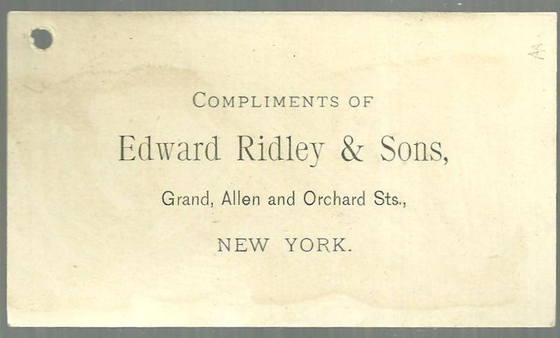Victorian Trade Card for Edward Ridley with Lovely Lady Writing a Letter