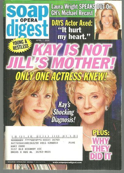 Soap Opera Digest Magazine April 7, 2009 Kay is Not Jill's Mother on the Cover