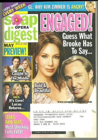 Soap Opera Digest Magazine April 29, 2008 Bold and Beautiful Engaged on Cover