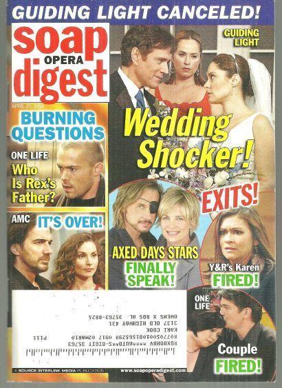 Soap Opera Digest April 21, 2009  Guiding Light Wedding Shocker on Cover