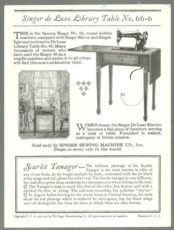 Victorian Trade Card for Singer Sewing Machine Song Birds Series Scarlet Tanger