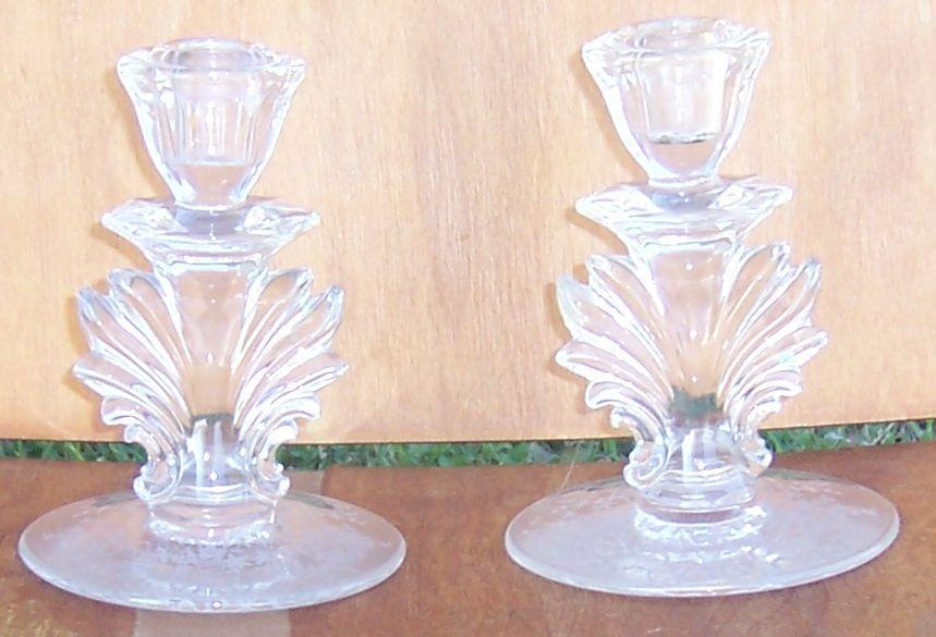 Vintage Pair of Fostoria Corsage Etched Candlesticks