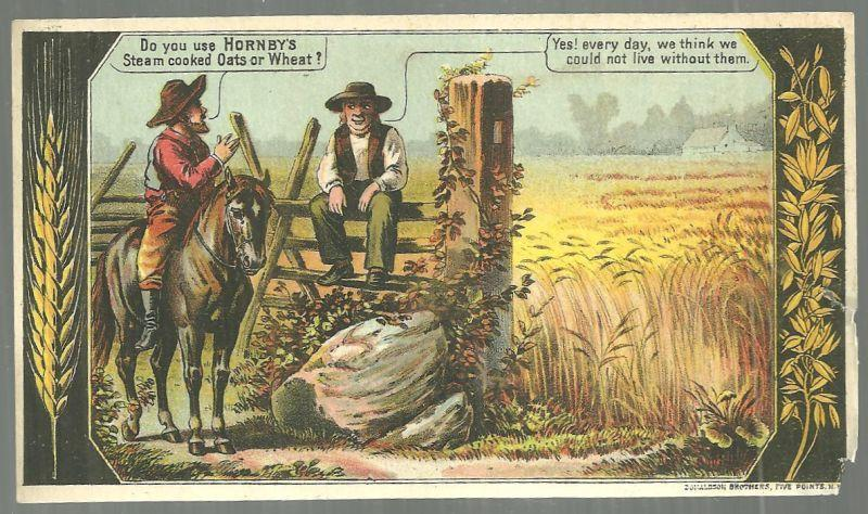 Victorian Trade Card For Hornby's Steamed Cooked Oats with Two Farmers in Field