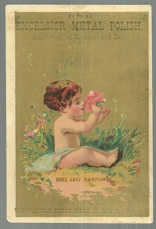 Victorian Trade Card for Excelsior Metal Polish with Baby Sniffing Flower