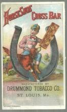 Victorian Trade Card for Horseshoe Cross Bar Drummond Tobacco Boy and His Dog